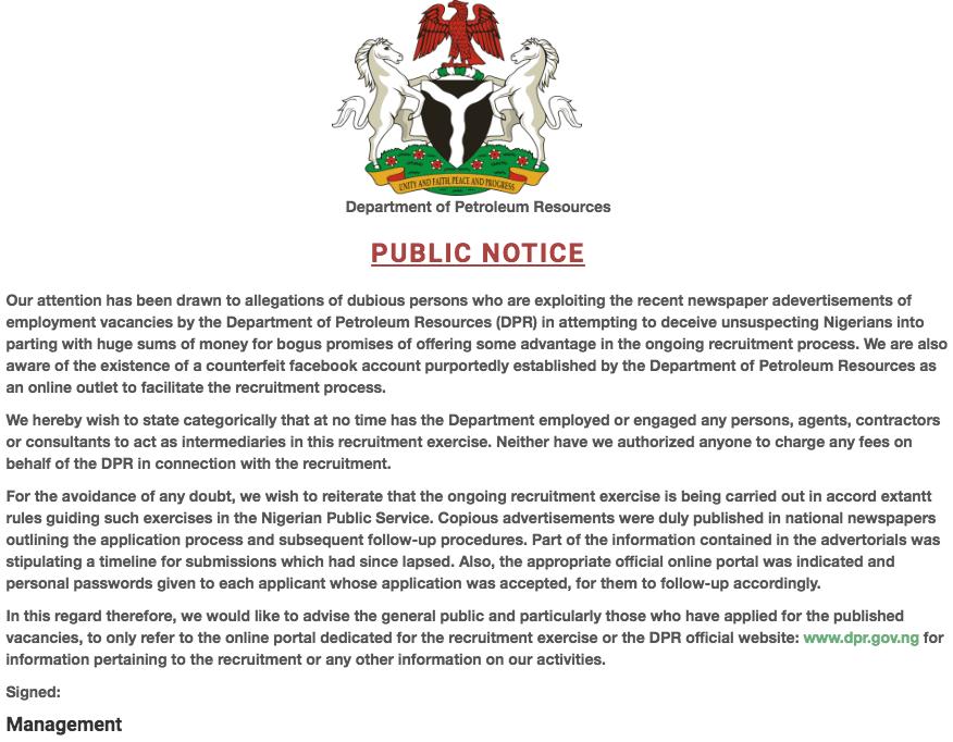 Department of Petroleum Resources recruitment 2020